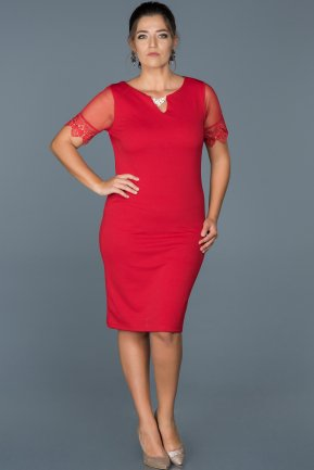 Short Red Plus Size Evening Dress ABK212