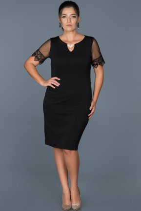 Short Black Plus Size Evening Dress ABK212