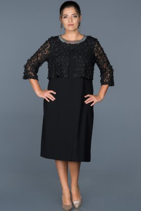 Short Black Plus Size Evening Dress ABK213