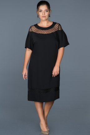 Short Black Plus Size Evening Dress ABK207