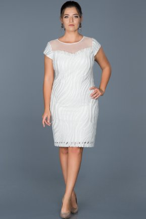 Short White Plus Size Evening Dress ABK011