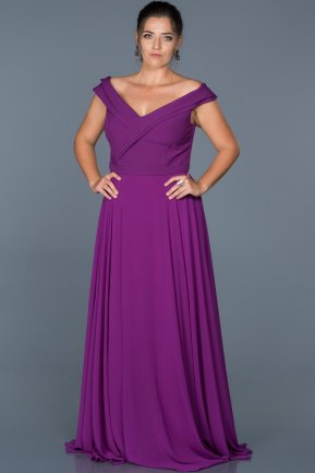 Long Purple Oversized Evening Dress ABU012