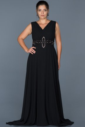 Long Black Plus Size Evening Dress ABU463
