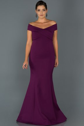 Long Violet Oversized Evening Dress ABU077