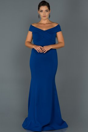 Long Sax Blue Oversized Evening Dress ABU077