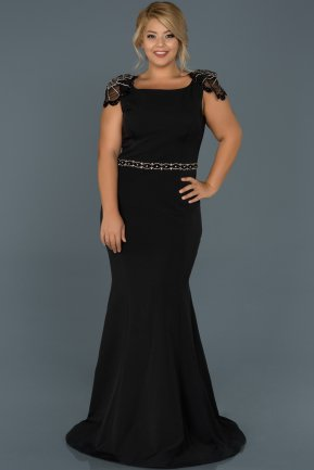 Long Black Plus Size Evening Dress ABU468