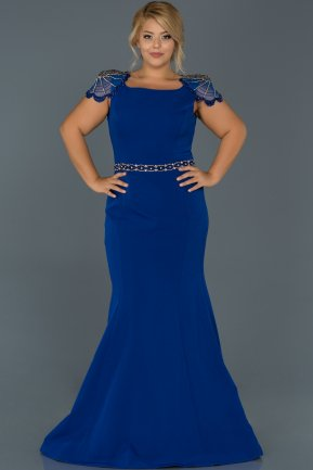 Long Sax Blue Plus Size Evening Dress ABU468