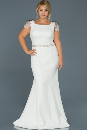 Long White Plus Size Evening Dress ABU468