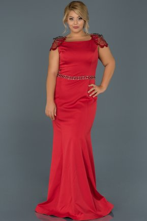 Long Red Plus Size Evening Dress ABU468