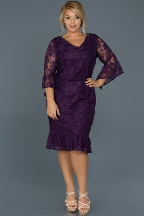 Short Plum Plus Size Evening Dress ABK221