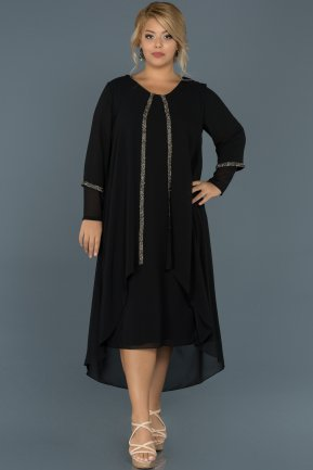 Black Plus Size Evening Dress ABK220