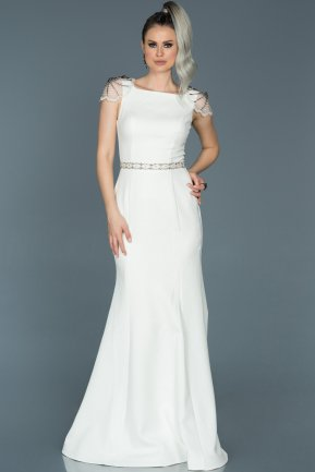 Long White Mermaid Evening Dress ABU509