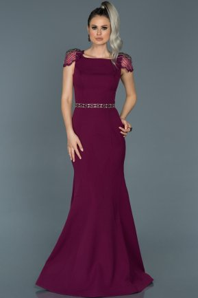 Long Plum Mermaid Evening Dress ABU509