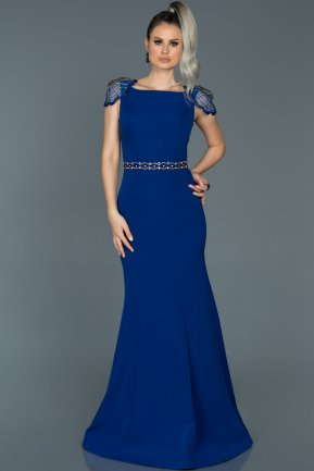Long Sax Blue Mermaid Evening Dress ABU509