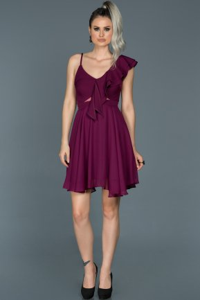 Short Plum Invitation Dress ABK280