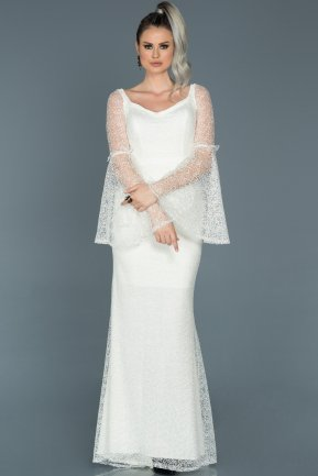 Long White Engagement Dress ABU500