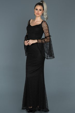 Long Black Engagement Dress ABU500