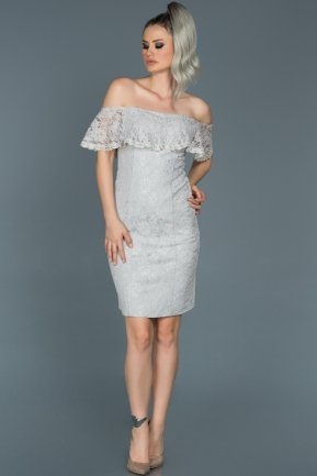 Short Grey Evening Dress ABK038