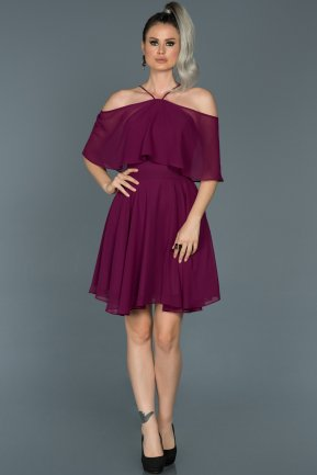 Short Plum Invitation Dress ABK281