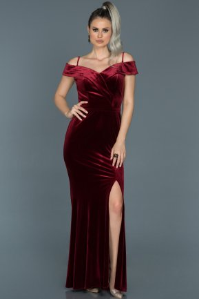 Long Burgundy Prom Gown ABU501