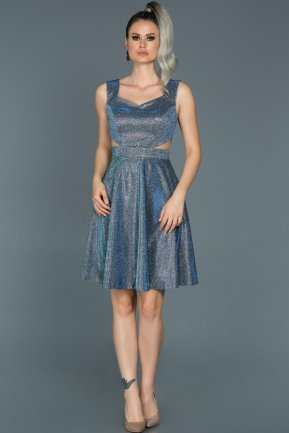 Short Sax Blue Prom Gown ABK091