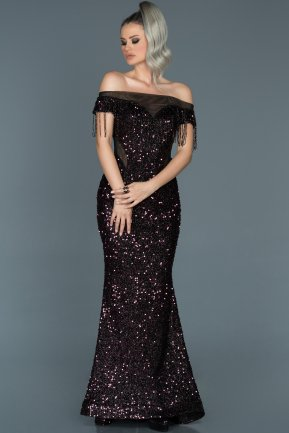 Long Plum Mermaid Evening Dress ABU497