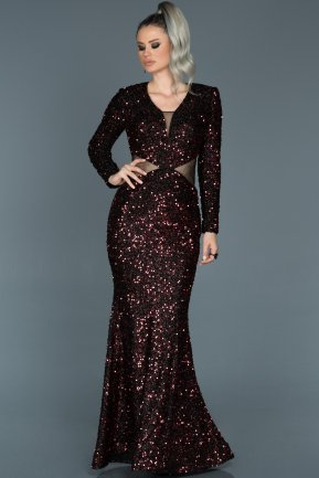 Long Burgundy Mermaid Evening Dress ABU498