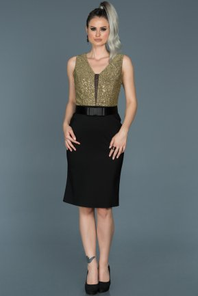 Short Black-Gold Invitation Dress ABK225