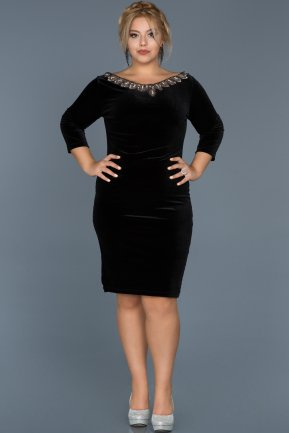 Short Black Oversized Evening Dress ABK284