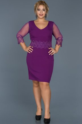 Short Purple Oversized Evening Dress ABK223