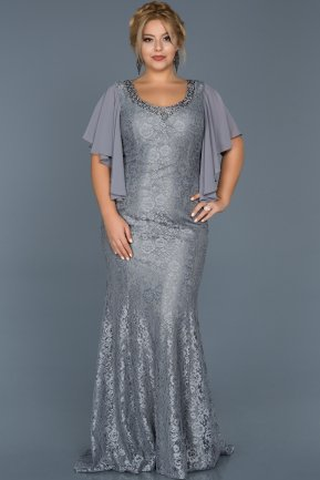 Long Grey Oversized Mermaid Evening Dress ABU474