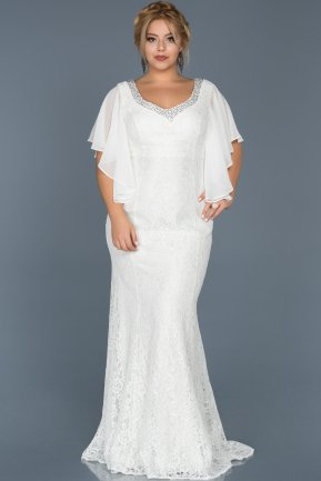 Long White Oversized Mermaid Evening Dress ABU474