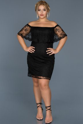 Short Black Oversized Evening Dress ABK277
