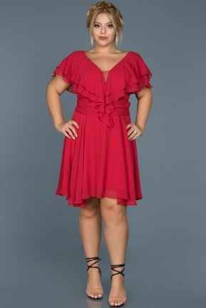 Short Red Plus Size Evening Dress ABK273