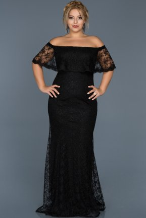 Long Black Plus Size Evening Dress ABU510