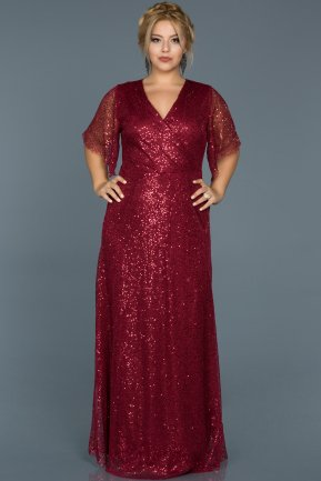 Long Burgundy Plus Size Evening Dress ABU514