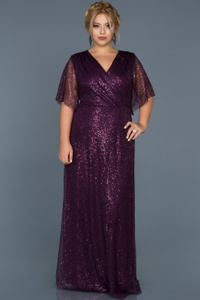 Long Purple Plus Size Evening Dress ABU514