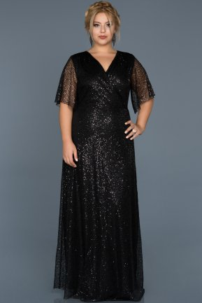 Long Black Plus Size Evening Dress ABU514