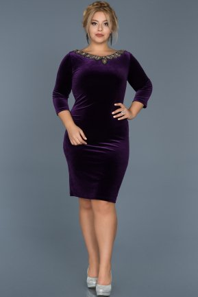 Short Purple Plus Size Evening Dress ABK283