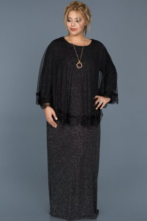 Long Black Plus Size Evening Dress ABU511
