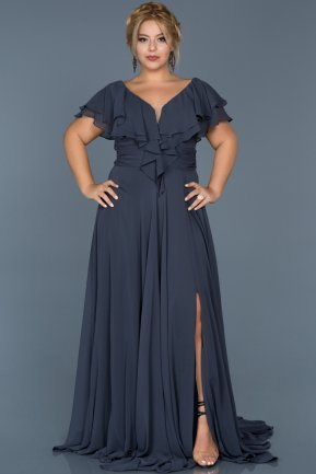 Long Indigo Plus Size Evening Dress ABU032