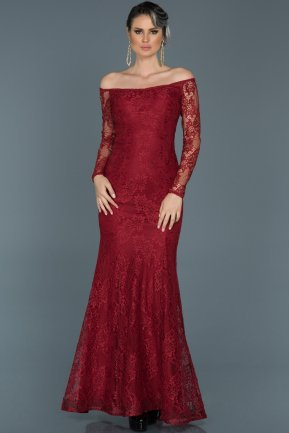 Long Burgundy Evening Dress ABU011