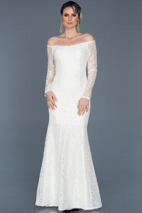 Long White Evening Dress ABU011