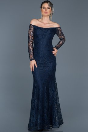 Long Navy Blue Evening Dress ABU011