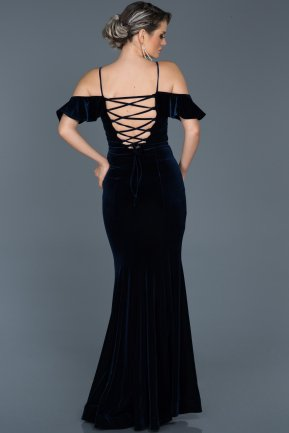 Long Navy Blue Mermaid Evening Dress ABU523
