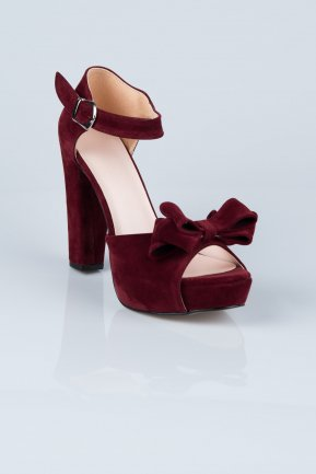 Burgundy Suede Evening Shoes MJS6601