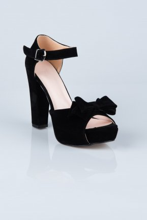 Black Suede Evening Shoes MJS6601