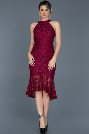 Short Burgundy Invitation Dress ABK290