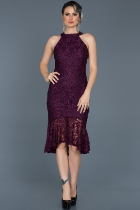 Short Plum Invitation Dress ABK290