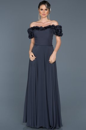 Long İndigo Evening Dress ABU074